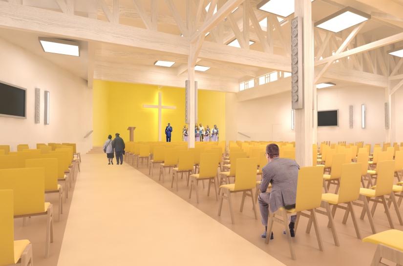 Vue de la salle de culte. HEAR architecture et urbanisme.