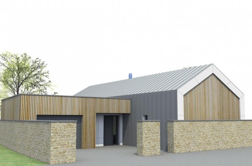 Maison neuve toiture en pente et terrasse