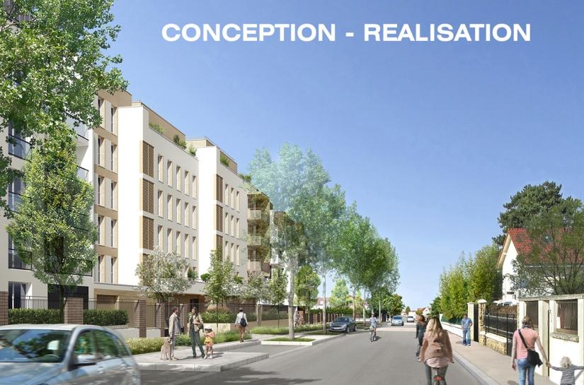 64 LOGEMENTS SOCIAUX COLLECTIFS H&E/RT2012-10% - NOISY-LE-GRAND: perspective rue de la Justice