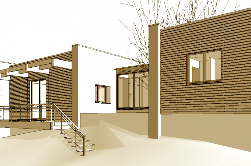 Maison à ossature bois suspendue à des murs de refend