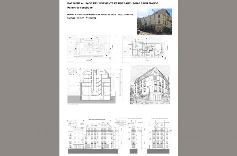 Permis de construire pour une réhabilitation et une extension d'un bâtiment à usage de logements et bureaux. Saint-Mandé