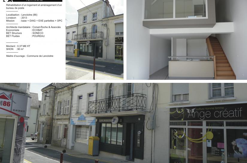 Bureau et Poste et logement à Lencloître