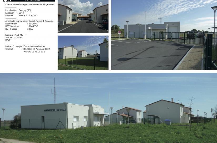 Gendarmerie et 5 logements à Gençay