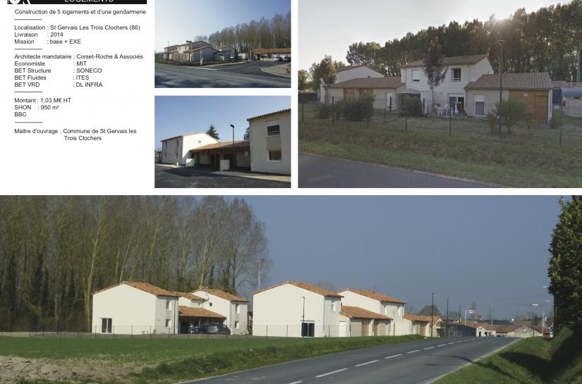 Gendarmerie et logements à Saint-Gervais-les-Trois-Clochers