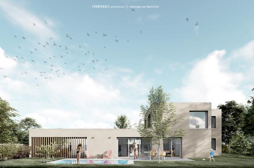 villa contemporaine maison FORMIDABLE architectes Lyon Condrieu