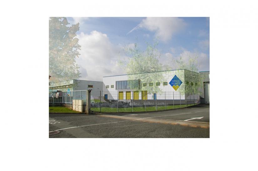 Plateforme logistique, bureaux et parkings - Image de synthèse