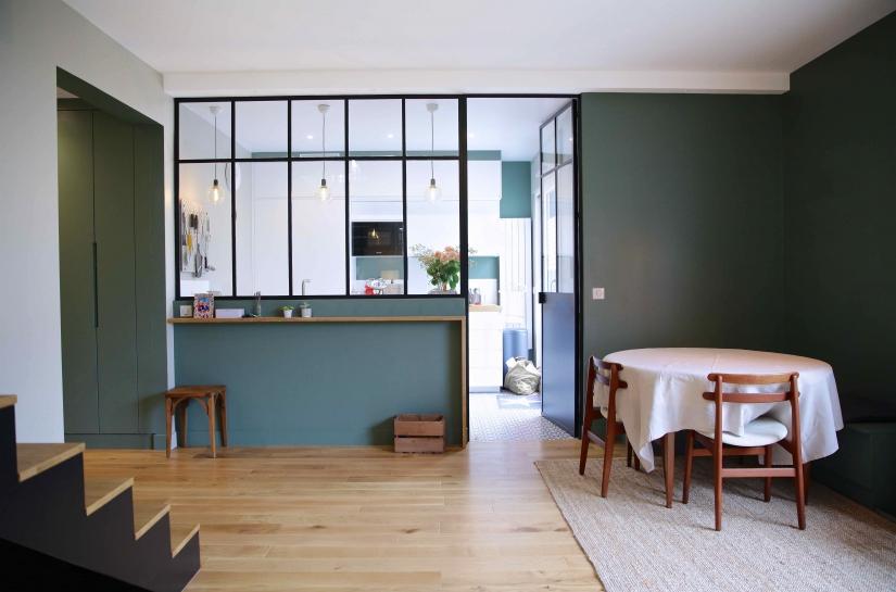 Intérieur - Verrière entre séjour et cuisine