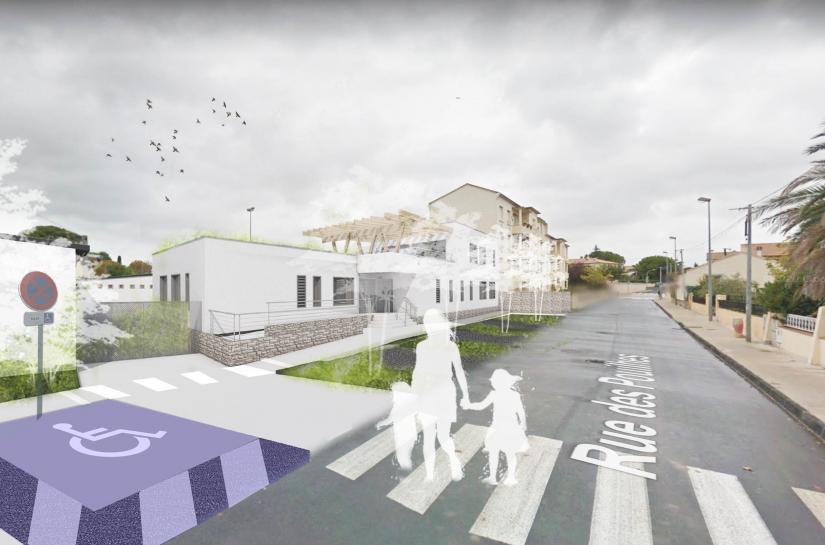 Vue du nouveau centre de loisirs depuis l'espace public
