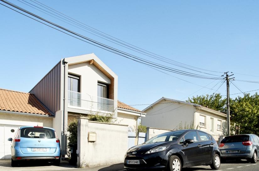 Surélévation-Extension Maison, Ossature bois, Bardage zinc BC 33, Pessac 33 - Nouvelle Aquitaine