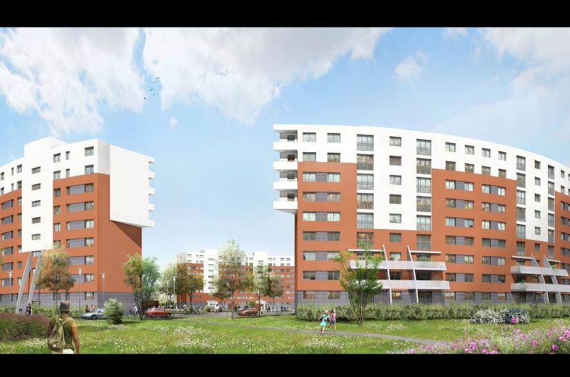 Vue extérieure du projet de réhabilitation énergétique et de résidentialisation d'immeubles de CUS Habitat, dans le quartier de Cronenbourg, à Strasbourg