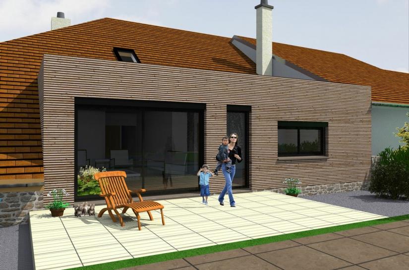 Extension d'une maison à Chatillon le Duc - vue générale