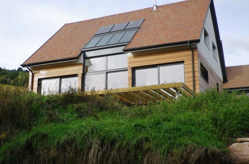 maison bioclimatique BBC contemporaine solaire maison passive ossature bois alsace haut-rhin