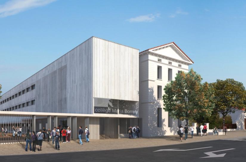 perspective 1 concours renovation et extension du college maria borrely architecte