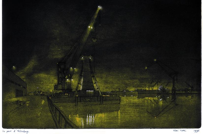 Rémi TURC architecte Château-Thierry Reims Épernay – gravure 1996 Suède, port d'Helsingborg