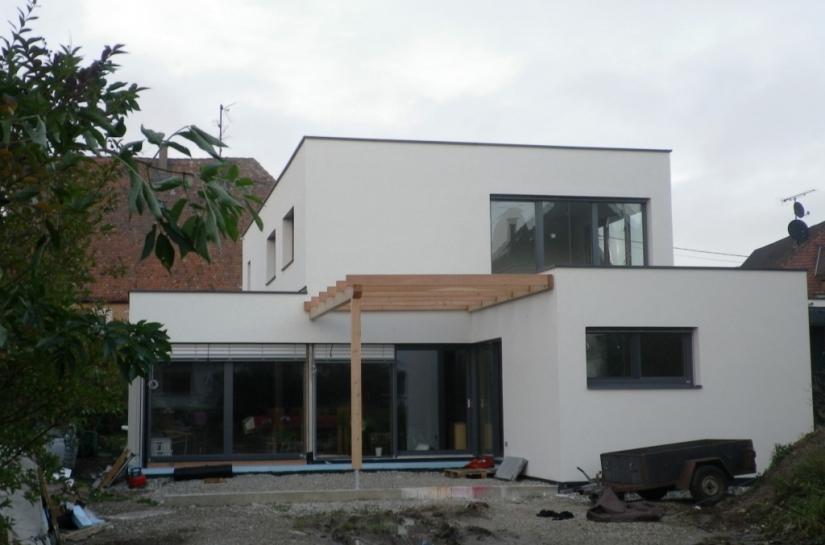 maison toit plat contemporaine BBC bioclimatique solaire ossature bois alsace bas-rhin