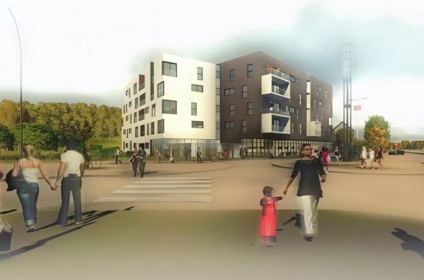 2 ailes complémentaires à l'articulation de 2 espaces publics : la route de Calais et le futur mail planté