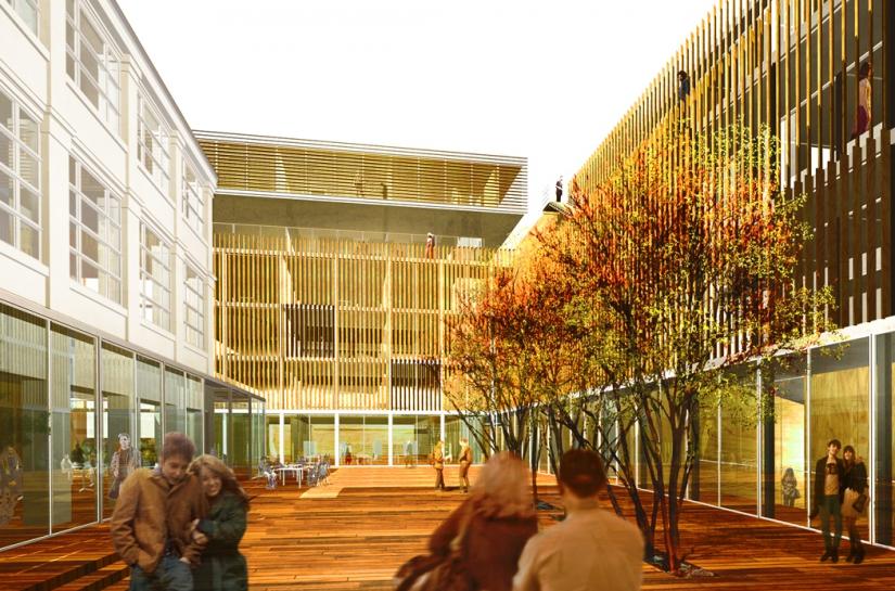 ECOLE D'ARCHITECTURE DE PARIS-BELLEVILLE vue perspective sur la cour