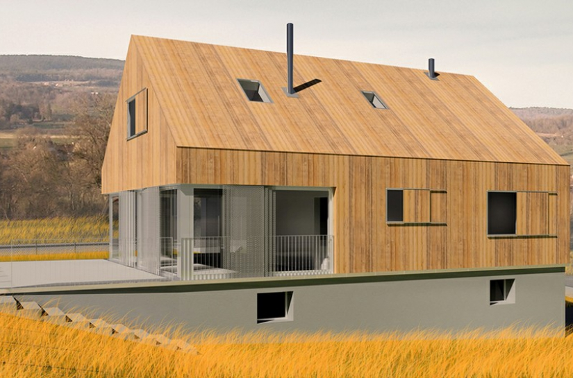 """Ce projet vise à interroger l'héritage pavillonnaire français : comment le faire évoluer, tant dans la forme que dans la performance énergétique et, surtout, dans le signifiant. Le bardage bois intégral est un moyen de """"patrimonialiser"""" cette forme urbaine plébiscitée par les français."""